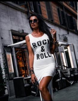 Γυναικείο μακρύ φόρεμα με σκίσιμο 3224 άσπρο