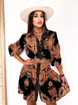 Γυναικείο φόρεμα με σχέδια με ζώνη στη μέση 5490 μαύρο/καμηλό