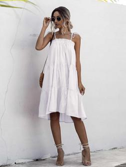 Γυναικείο φόρεμα με λεπτές τιράντες 5170 άσπρο