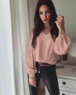 Γυναικεία μπλούζα με V ντεκολτέ 3957 ροζ