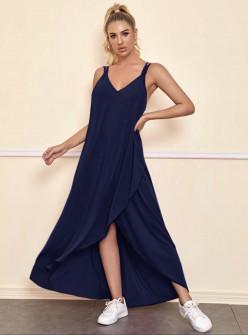 Дамска асиметрична рокля 5182 тъмно синя