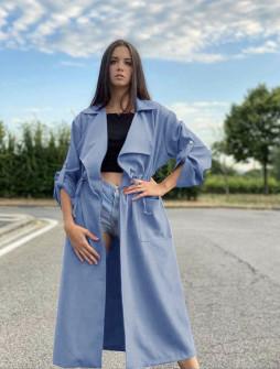 Γυναικείο μακρύ μπουφάν βελουτέ 5311 γαλάζιο