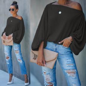 Γυναικεία μπλούζα με φουσκωτό μανίκι 2408 μαύρη