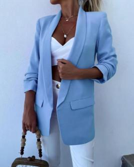 Γυναικείο σακάκι με φόδρα 5783 γαλάζιο