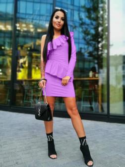 Γυναικείο φόρεμα με ένα μανίκι 2022 λιλά