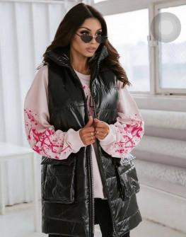 Γυναικείο αμάνικο μπουφάν με τσέπες 82225 μαύρο