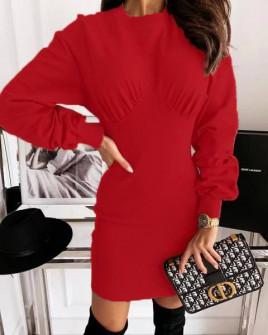 Γυναικείο εφαρμοστό φόρεμα 3394 κόκκινο
