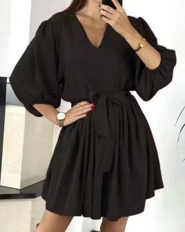 Γυναικείο χαλαρό φόρεμα με ζώνη 3456 μαύρο