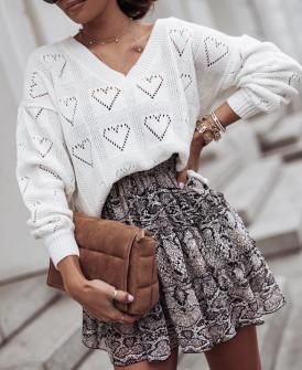 Γυναικείο πουλόβερ καρδιές 2038 άσπρο
