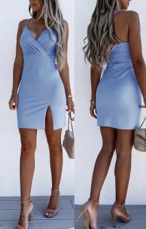 Γυναικείο εφαρμοστό φόρεμα με εντυπωσιακή πλάτη 5852 γαλάζιο