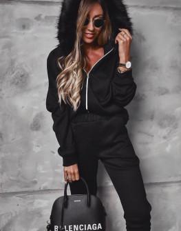 Γυναικείο σετ φόρμα και φούτερ με γούνα 4144 μαύρο