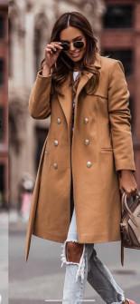 Γυναικείο διπλοκούμπωτο παλτό με φόδρα 6052 καμηλό