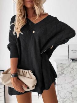 Γυναικείο πλεκτό μπλουζοφόρεμα 88017 μαύρο