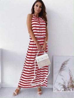 Γυναικείο μακρύ φόρεμα ριγέ 12282 κόκκινο
