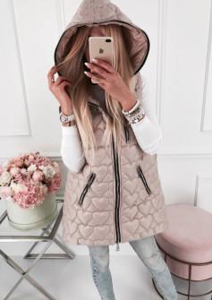 Γυναικείο μπουφάν αμάνικο μακρύ 81908 ροζ