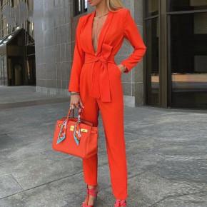 Γυναικεία κομψή ολόσωμη φόρμα 2528 πορτοκαλί