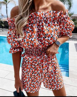 Γυναικεία ολόσωμη φόρμα με φλοράλ ντεσέν 21332