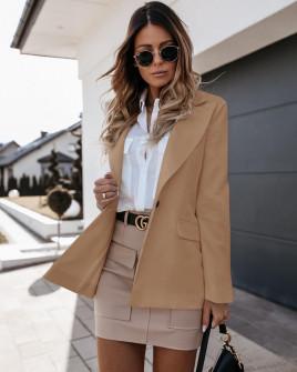 Γυναικείο σακάκι με φόδρα 5256 μπεζ