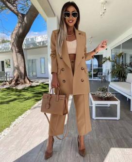 Γυναικείο σετ παντελόνι και σακάκι με φόδρα 5890 καμηλό