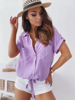 Γυναικείο πουκάμισο με δέσιμο 5606 λιλά
