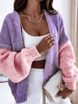 Γυναικεία δίχρωμη ζακέτα 00889 λιλά/ροζ