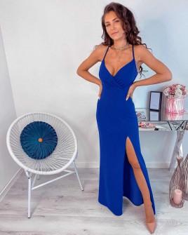 Γυναικείο μακρύ φόρεμα με σκίσιμο 5083 μπλε