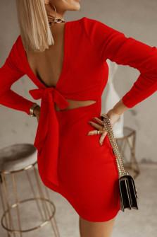 Γυναικείο φόρεμα με εντυπωσιακή πλάτη 5562 κόκκινο
