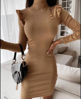 Γυναικείο εφαρμοστό φόρεμα 5442 καμηλό