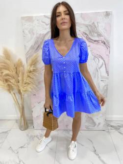 Γυναικείο φόρεμα πουά 21226 μπλε