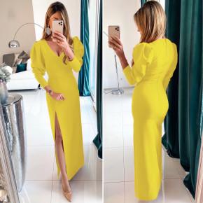 Γυναικείο μακρύ φόρεμα με σκίσιμο 5001 κίτρινο
