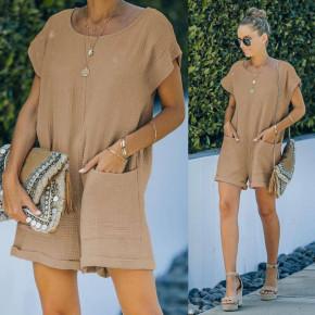 Γυναικεία χαλαρή ολόσωμη φόρμα 21262 καμηλό