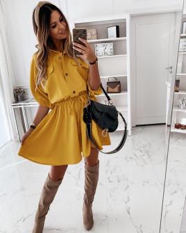 Γυναικείο φόρεμα με λάστιχο στη μέση 5324 κίτρινο