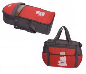 Σετ πορτ μπεμπέ και τσάντα 00453 γκρ/κόκκινο