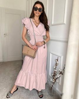 Γυναικείο μακρύ μονόχρωμο φόρεμα 8151 ροζ