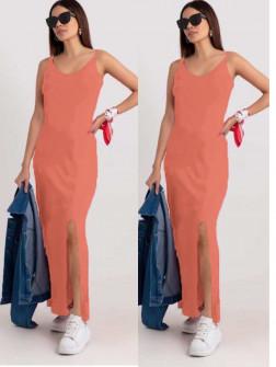 Γυναικείο μακρύ φόρεμα με σκίσιμο 2392 κοραλί