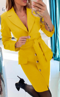 Γυναικείο φόρεμα με ζώνη και κουμπιά 3948 κίτρινο
