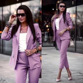Γυναικείο σετ σακάκι και παντελόνι 3970 λιλά