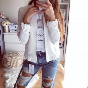 Γυναικείο μπουφάν με φερμουάρ 5039 άσπρο