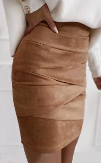Γυναικεία σουέτ φούστα 5367 καμηλό