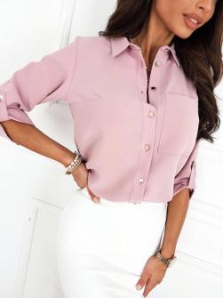 Γυναικείο μονόχρωμο πουκάμισο 9363 ροζ