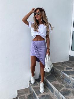 Γυναικείο σετ φούστα και μπλούζα 2467 μωβ