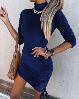 Γυναικείο μοντέρνο βελουτέ φόρεμα 6019 σκούρο μπλε