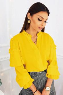Γυναικεία μπλούζα με εντυπωσιακό μανίκι 3959 κίτρινη