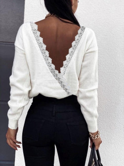 Μπλούζα με εντυπωσιακή πλάτη 3343 άσπρη