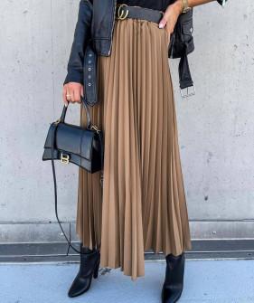 Γυναικεία μακριά φούστα πλισέ 6064 καμηλό