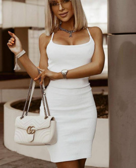 Γυναικείο φόρεμα με εντυπωσιακή πλάτη 4616 άσπρο
