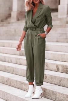Γυναικεία ολόσωμη φόρμα με ζώνη 5507 σκούρο πράσινο