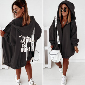 Γυναικεία βελούδινη ζακέτα με φερμουάρ 88853 μαύρο