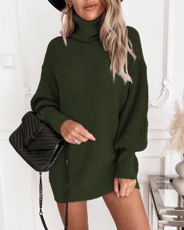 Γυναικείο πλεκτό μπλουζοφόρεμα 8990 σκούρο πράσινο