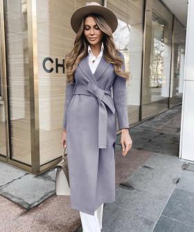 Γυναικείο κομψό παλτό με ζώνη και φόδρα 5357 γκρι
